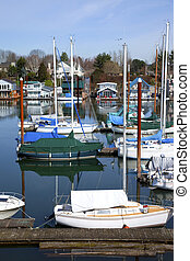 Sailboats in a marina, Portland OR.