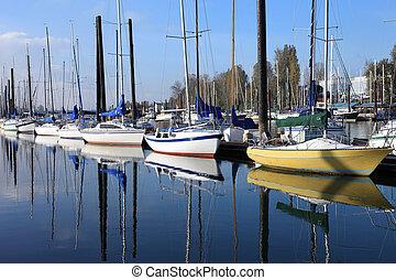 Sailboats in a marina, Portland Ore