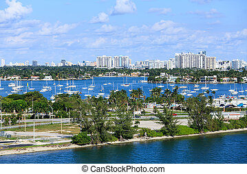 Sailboats in Biscayne Bay - The Macarthur Causeway from...