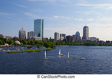 sailboats in boston - View of the boston skyline from across...