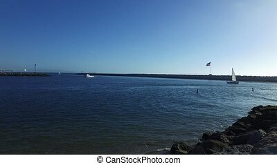 Sailboats in Marina del Rey, California USA