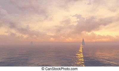 Sailboats in open sea at sunrise - Beautiful marine scenery...