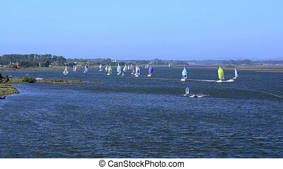 Sailboats in regatta in river on a sunny day, high view.