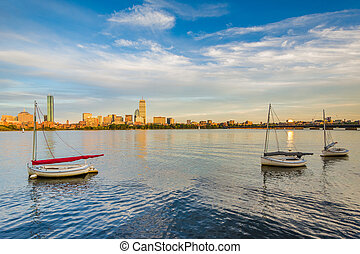 Sailboats in the Charles River in Cambridge, Massachusetts.