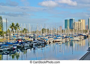 Sailboats in the harbor