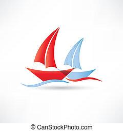 sailboats in the sea icon