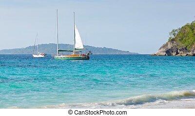 Sailboats near tropical beach - beautiful scenery