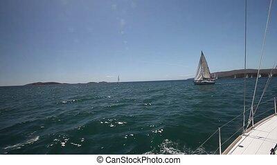 Sailboats participate in sailing