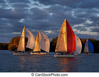Sailboats - Several sailboats out for a late afternoon...