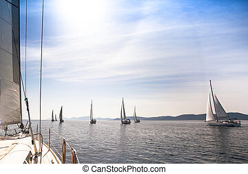 Sailboats sailing sail blue Mediterranean sea