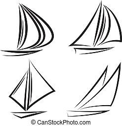 Sailboats - Set of four black silhouette sailboats