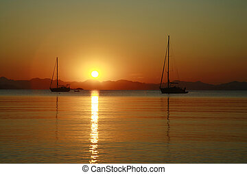 Sailboats Sunset