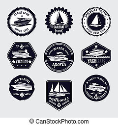 Sailboats travel labels icons set - Elite world water sport...