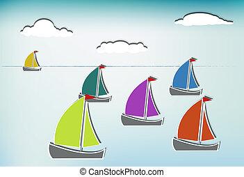 sailboats_b, coloré