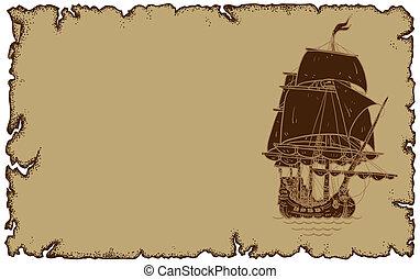 sailbot, papier, thema, oud, marinier