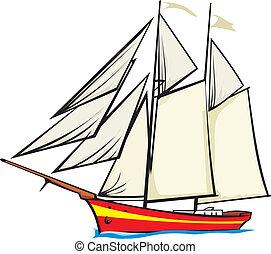 sailer, entiers, -, nautisme, sous