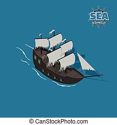 Sailer ghost on a blue background.