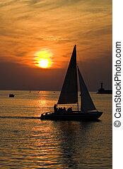 sea, sunset and yacht, romantic journey