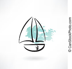 sailfish boat grunge icon