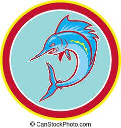 sailfish, fische, springende , kreis, karikatur