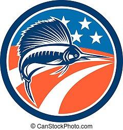Sailfish Fish Jumping American Flag Circle Retro