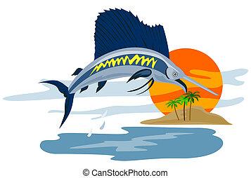 Sailfish jumping  - Illustration on marine life