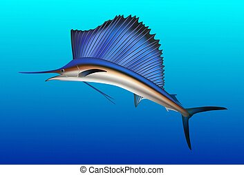 Sailfish jumping out of water. Realistic vector...