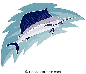 sailfish jumping retro style