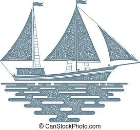 sailfish, segeln, segel, hintergrund., wellen, monochrom, schiff, weiß rot
