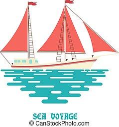 sailfish, segeln, wohnung, segel, hintergrund., weißes, sea., wellen, schiff, style., rotes