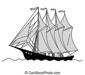sailfish, silueta, ilustração, fundo, vetorial, branca