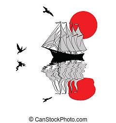 sailfish, sylwetka, na białym, tło, wektor, ilustracja