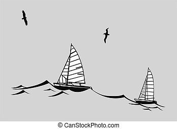 sailfishes silhouette on gray background, vector illustration