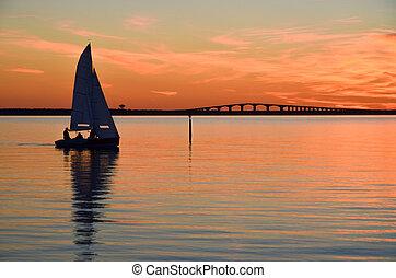 Sailing at calm water