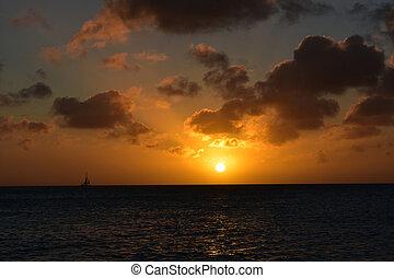 Sailing At Sunset on the Horizon in Aruba
