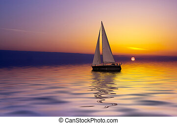 Sailing at sunset - Sailing on a beautiful night