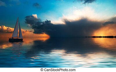 Sailing at sunset