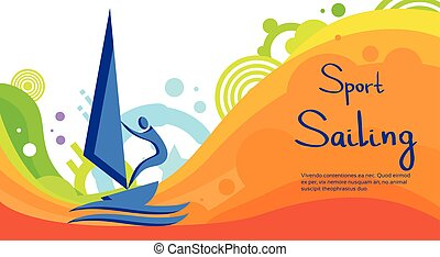 Sailing Athlete Sport Competition Colorful Banner