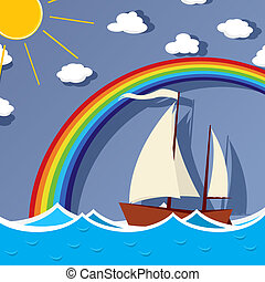 Sailing background card - Sailboat floats on the sea under a...