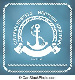 Sailing badge with anchor and chain
