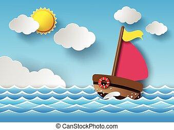 sailing barco, e, nuvens