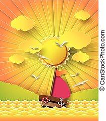 sailing barco, e, nuvens, com, sol, beam.