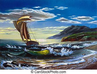 sailing barco, em, a, tempestade, mar