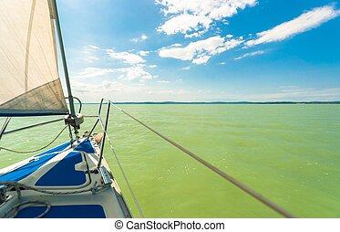 sailing barco, ligado, a, água