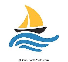 sailing barco, ligado, a, água, vetorial, logotipo