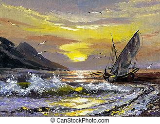 sailing barco, ligado, um, declínio