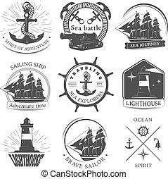 Sailing Black White Emblems