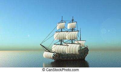 Sailing boat - 3D CG rendering of the sailing boat.