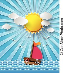 Sailing boat and clouds with sun beam.