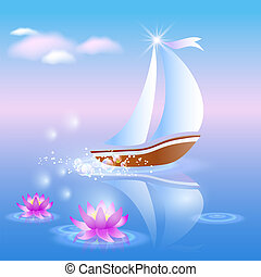 Sailing boat and violet lilies against a pink dawn